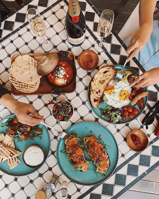 Different brunch recipes on the table