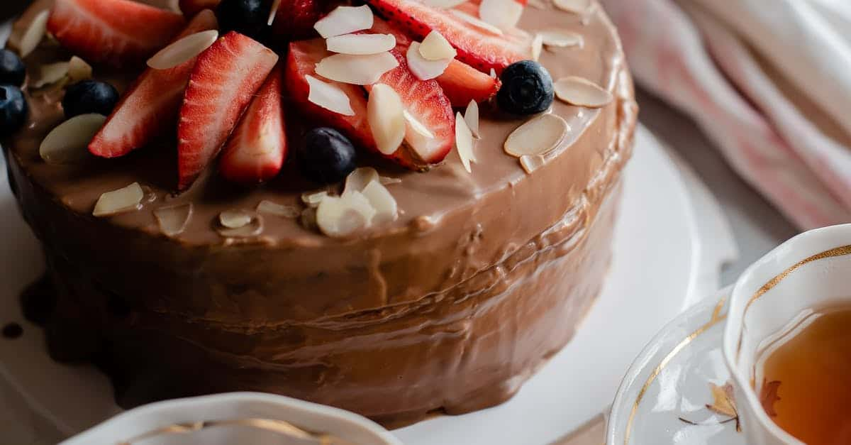 A close up of a chocolate cake on a plate