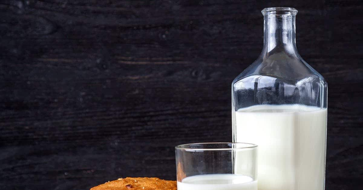 A glass of milk on a table